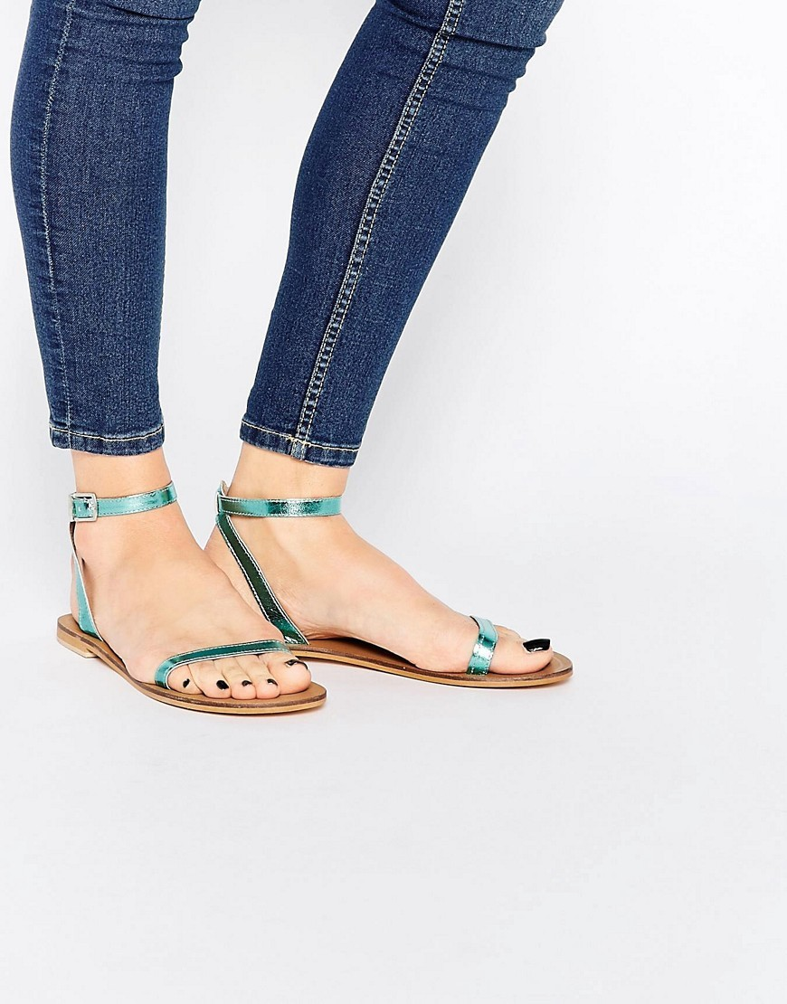Finlay Leather Flat Sandals Blue Metallic - predominant colour: turquoise; occasions: casual, holiday; material: leather; heel height: flat; ankle detail: ankle strap; heel: block; toe: open toe/peeptoe; style: strappy; finish: plain; pattern: plain; season: s/s 2016; wardrobe: highlight