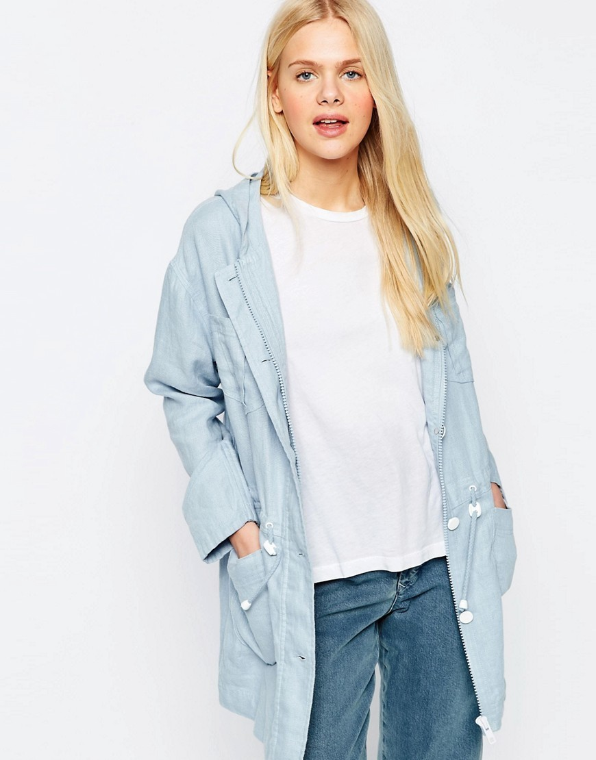 Parka In Linen Light Blue - pattern: plain; collar: round collar/collarless; fit: loose; style: parka; length: mid thigh; predominant colour: pale blue; occasions: casual; fibres: linen - 100%; sleeve length: long sleeve; sleeve style: standard; texture group: linen; collar break: high; pattern type: fabric; season: s/s 2016