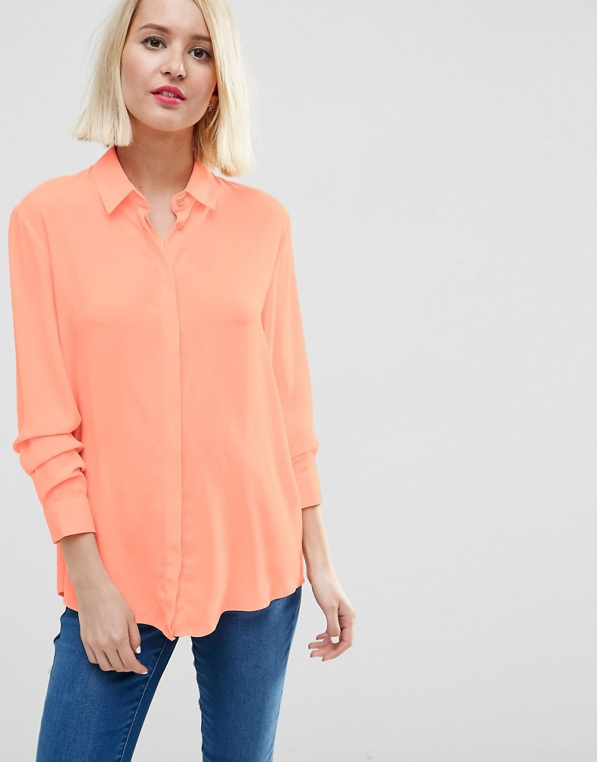 Blouse Peach - neckline: shirt collar/peter pan/zip with opening; pattern: plain; length: below the bottom; style: blouse; predominant colour: coral; occasions: casual, creative work; fibres: polyester/polyamide - 100%; fit: body skimming; sleeve length: long sleeve; sleeve style: standard; pattern type: fabric; texture group: other - light to midweight; season: s/s 2016