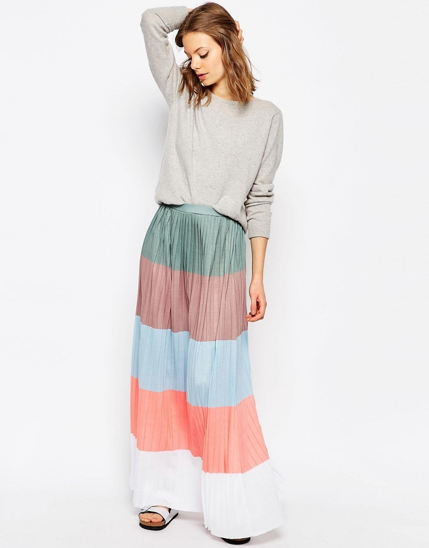 Pleated Maxi Skirt In Colourblock Stripe Multi - length: ankle length; fit: loose/voluminous; waist detail: elasticated waist; waist: high rise; predominant colour: pale blue; secondary colour: coral; occasions: casual, holiday, creative work; style: maxi skirt; fibres: polyester/polyamide - 100%; hip detail: soft pleats at hip/draping at hip/flared at hip; pattern type: fabric; texture group: jersey - stretchy/drapey; pattern size: big & busy (bottom); pattern: horizontal stripes (bottom); multicoloured: multicoloured; season: s/s 2016; wardrobe: highlight