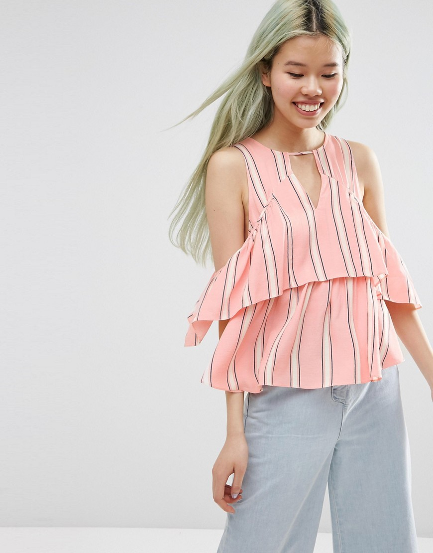Tiered Cold Shoulder Top In Stripe Multi - pattern: striped; predominant colour: pink; occasions: casual, creative work; length: standard; style: top; neckline: peep hole neckline; fibres: viscose/rayon - 100%; fit: loose; shoulder detail: cut out shoulder; sleeve length: half sleeve; sleeve style: standard; bust detail: bulky details at bust; pattern type: fabric; texture group: other - light to midweight; pattern size: big & busy (top); season: s/s 2016; wardrobe: highlight