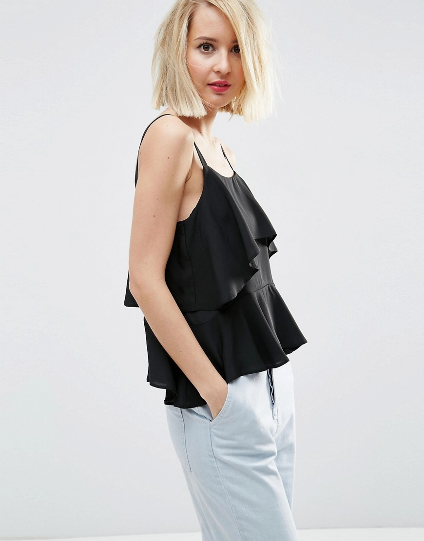 Tiered Cami Top Black - sleeve style: spaghetti straps; pattern: plain; style: camisole; predominant colour: black; occasions: casual, evening, holiday; length: standard; neckline: scoop; fibres: polyester/polyamide - 100%; fit: loose; sleeve length: sleeveless; bust detail: tiers/frills/bulky drapes/pleats; pattern type: fabric; texture group: other - light to midweight; season: s/s 2016