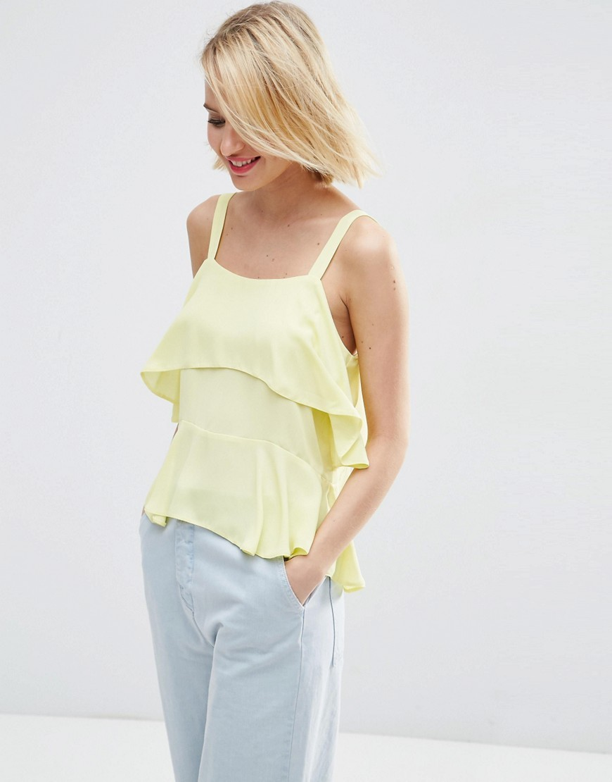Tiered Cami Yellow - sleeve style: standard vest straps/shoulder straps; pattern: plain; style: camisole; predominant colour: primrose yellow; occasions: casual, holiday; length: standard; neckline: scoop; fibres: polyester/polyamide - 100%; fit: loose; sleeve length: sleeveless; texture group: sheer fabrics/chiffon/organza etc.; bust detail: bulky details at bust; pattern type: fabric; season: s/s 2016; wardrobe: highlight