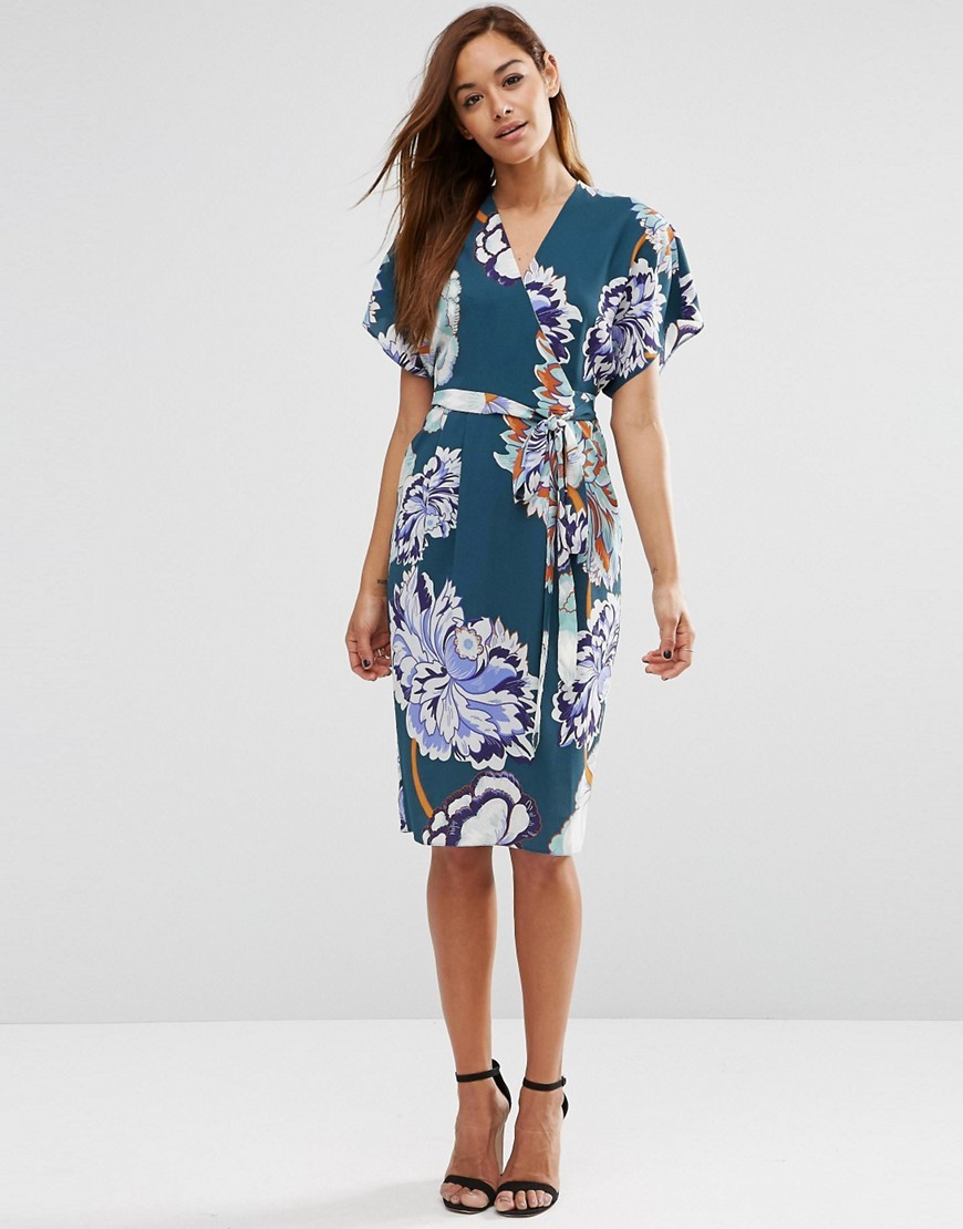 Floral Obi Wrap Dress Multi - style: faux wrap/wrap; neckline: v-neck; sleeve style: dolman/batwing; fit: tailored/fitted; secondary colour: white; predominant colour: teal; occasions: evening, occasion; length: on the knee; fibres: polyester/polyamide - 100%; sleeve length: half sleeve; pattern type: fabric; pattern size: big & busy; pattern: florals; texture group: woven light midweight; multicoloured: multicoloured; season: s/s 2016