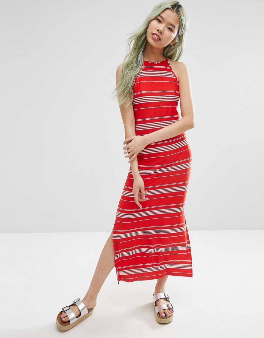 High Neck Maxi Dress In Stripe Red - pattern: horizontal stripes; sleeve style: sleeveless; style: maxi dress; length: ankle length; hip detail: draws attention to hips; secondary colour: white; predominant colour: true red; occasions: casual, holiday; fit: body skimming; fibres: viscose/rayon - stretch; neckline: crew; sleeve length: sleeveless; texture group: jersey - clingy; pattern type: fabric; pattern size: standard; season: s/s 2016; wardrobe: highlight