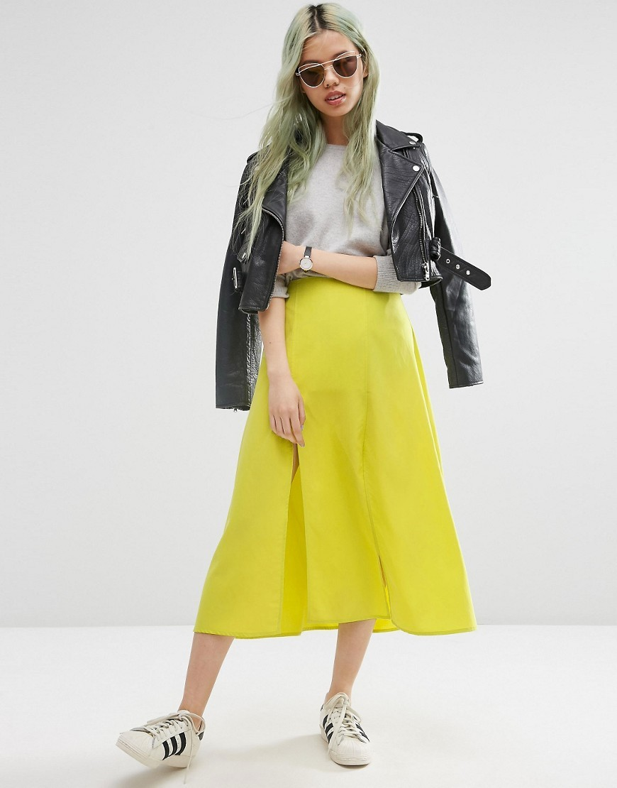 Soft Midi Skirt With Splices Chartreuse - length: calf length; pattern: plain; fit: loose/voluminous; waist: high rise; predominant colour: lime; occasions: casual, creative work; style: a-line; fibres: polyester/polyamide - 100%; hip detail: soft pleats at hip/draping at hip/flared at hip; texture group: crepes; pattern type: fabric; season: s/s 2016; wardrobe: highlight