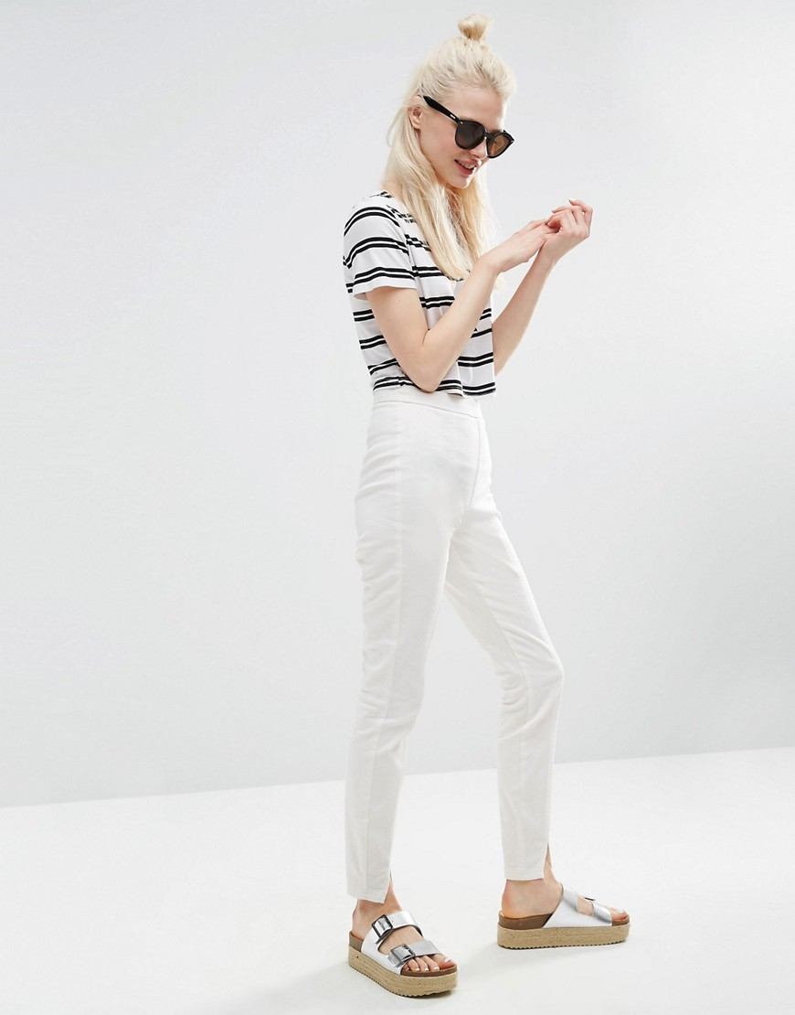 High Waisted Skinny Trousers With Split Fronts Ivory - length: standard; pattern: plain; waist: high rise; predominant colour: ivory/cream; occasions: casual, creative work; fibres: cotton - stretch; texture group: denim; fit: skinny/tight leg; pattern type: fabric; style: standard; season: s/s 2016; wardrobe: basic