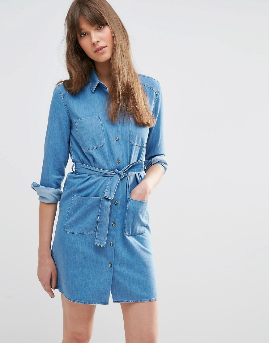 Denim Belted Shirt Dress In Washed Blue Midwash Blue - style: shirt; length: mid thigh; neckline: shirt collar/peter pan/zip with opening; pattern: plain; hip detail: front pockets at hip; bust detail: pocket detail at bust; waist detail: belted waist/tie at waist/drawstring; predominant colour: denim; occasions: casual, creative work; fit: straight cut; fibres: cotton - stretch; sleeve length: 3/4 length; sleeve style: standard; texture group: denim; pattern type: fabric; season: s/s 2016; wardrobe: basic