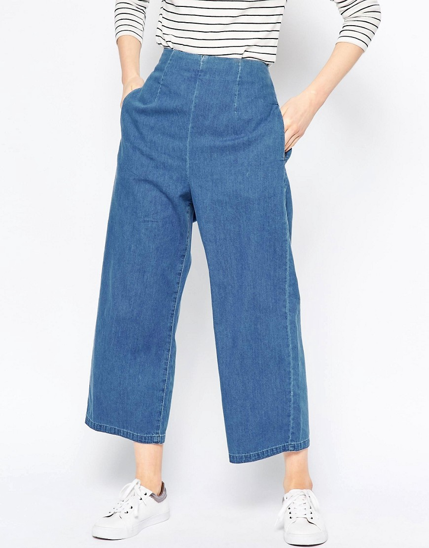 Soft Wide Leg Jeans With Zip Back In Light Stonewash Mid Wash Blue - pattern: plain; waist: high rise; style: wide leg; predominant colour: denim; occasions: casual; length: ankle length; fibres: cotton - 100%; texture group: denim; pattern type: fabric; season: s/s 2016; wardrobe: basic