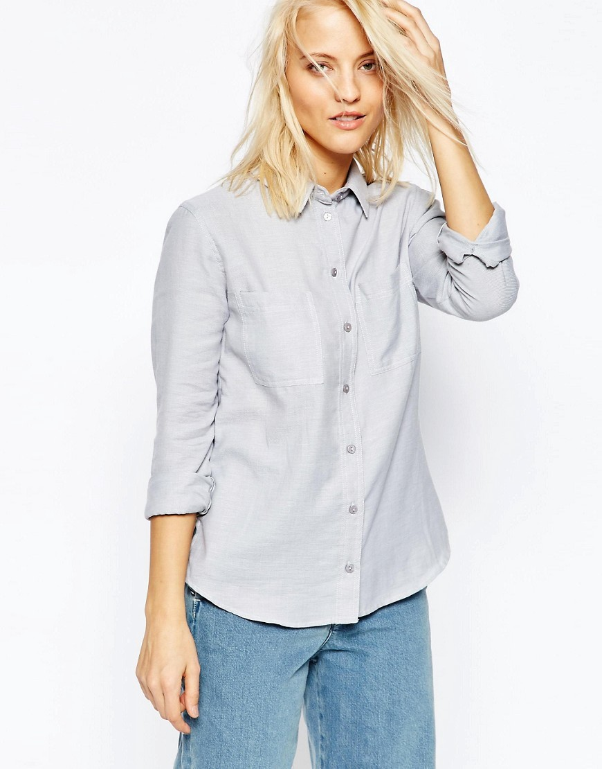 Fitted Shirt In Twill Grey - neckline: shirt collar/peter pan/zip with opening; pattern: plain; style: shirt; predominant colour: light grey; occasions: casual, work, creative work; length: standard; fibres: cotton - 100%; fit: body skimming; sleeve length: 3/4 length; sleeve style: standard; texture group: cotton feel fabrics; pattern type: fabric; season: s/s 2016; wardrobe: basic