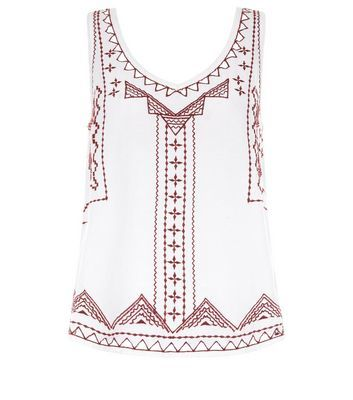White Embroidered V Neck Sleeveless Top - neckline: low v-neck; sleeve style: standard vest straps/shoulder straps; style: vest top; predominant colour: white; secondary colour: burgundy; occasions: casual, evening; length: standard; fibres: cotton - 100%; fit: straight cut; sleeve length: sleeveless; texture group: cotton feel fabrics; pattern type: fabric; pattern size: standard; pattern: patterned/print; embellishment: embroidered; season: s/s 2016; wardrobe: highlight