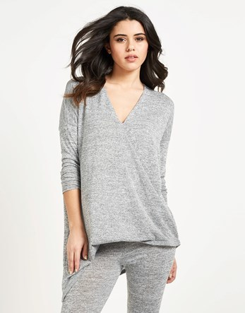 Cross Front Tracksuit Top - neckline: v-neck; pattern: plain; length: below the bottom; predominant colour: light grey; occasions: casual, creative work; style: top; fibres: cotton - stretch; fit: body skimming; sleeve length: 3/4 length; sleeve style: standard; pattern type: fabric; texture group: jersey - stretchy/drapey; season: s/s 2016; wardrobe: basic