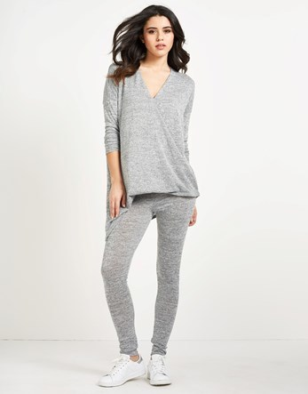 Cross Front Tracksuit Bottoms - length: standard; style: leggings; waist detail: elasticated waist; waist: mid/regular rise; predominant colour: light grey; occasions: casual; fibres: cotton - stretch; texture group: jersey - clingy; fit: skinny/tight leg; pattern type: fabric; pattern: marl; season: s/s 2016; wardrobe: basic