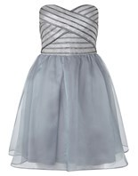 Strap Cami Dress - neckline: strapless (straight/sweetheart); style: prom dress; sleeve style: strapless; pattern: striped; predominant colour: pale blue; length: just above the knee; fit: fitted at waist & bust; fibres: nylon - mix; occasions: occasion; hip detail: soft pleats at hip/draping at hip/flared at hip; sleeve length: sleeveless; texture group: sheer fabrics/chiffon/organza etc.; pattern type: fabric; pattern size: standard; season: s/s 2016; wardrobe: event