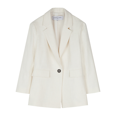Veste Jacket, Beige - pattern: plain; style: single breasted blazer; collar: standard lapel/rever collar; predominant colour: ivory/cream; occasions: casual, creative work; length: standard; fit: straight cut (boxy); fibres: cotton - 100%; sleeve length: 3/4 length; sleeve style: standard; collar break: medium; pattern type: fabric; texture group: woven light midweight; season: s/s 2016; wardrobe: basic