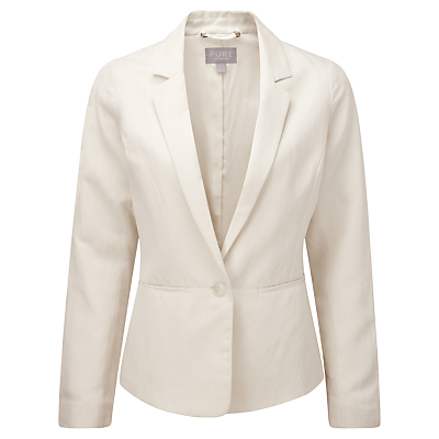 Kristen Silk Fitted Jacket, Ivory - pattern: plain; style: single breasted blazer; collar: standard lapel/rever collar; predominant colour: ivory/cream; length: standard; fit: tailored/fitted; fibres: silk - mix; occasions: occasion; sleeve length: long sleeve; sleeve style: standard; texture group: silky - light; collar break: medium; pattern type: fabric; season: s/s 2016; wardrobe: event