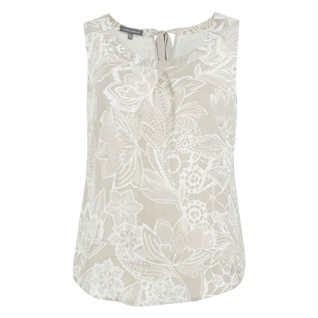 Tie Neck Floral Linen Shell Top - neckline: round neck; sleeve style: sleeveless; back detail: tie at back; secondary colour: ivory/cream; predominant colour: stone; occasions: casual, creative work; length: standard; style: top; fibres: linen - mix; fit: body skimming; sleeve length: sleeveless; pattern type: fabric; pattern size: standard; pattern: florals; texture group: woven light midweight; season: s/s 2016; wardrobe: highlight