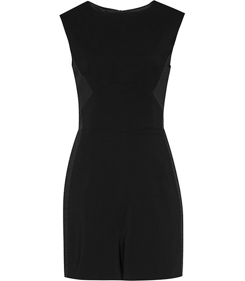 Maia Contrast Panel Playsuit - sleeve style: capped; fit: tailored/fitted; pattern: plain; length: short shorts; predominant colour: black; occasions: evening, creative work; fibres: polyester/polyamide - mix; neckline: crew; sleeve length: sleeveless; texture group: crepes; style: playsuit; pattern type: fabric; season: s/s 2016; wardrobe: highlight