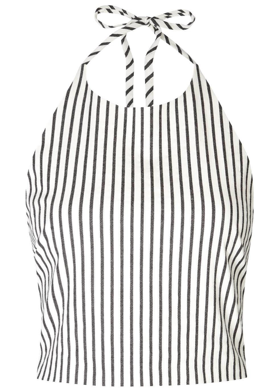 Jaymee Striped Cropped Cotton Top - sleeve style: sleeveless; pattern: striped; length: cropped; neckline: low halter neck; secondary colour: white; predominant colour: black; occasions: casual, holiday; style: top; fibres: cotton - mix; fit: body skimming; sleeve length: sleeveless; texture group: cotton feel fabrics; pattern type: fabric; pattern size: standard; season: s/s 2016; wardrobe: highlight