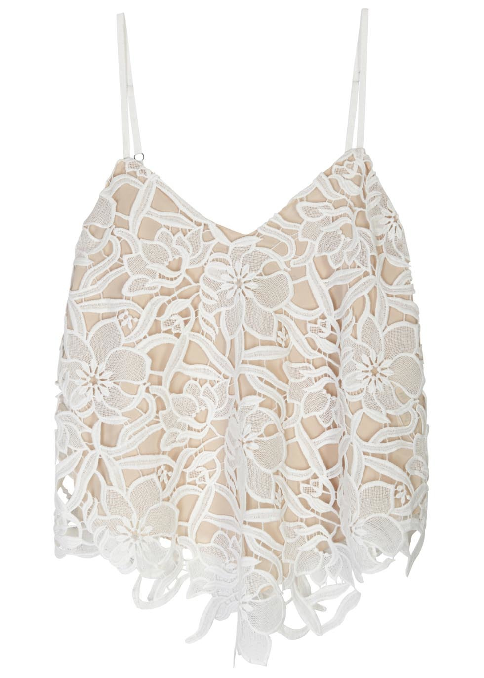Emmeline White Guipure Lace Top - neckline: low v-neck; sleeve style: spaghetti straps; pattern: plain; length: cropped; secondary colour: white; predominant colour: ivory/cream; style: top; fibres: polyester/polyamide - 100%; fit: loose; sleeve length: sleeveless; occasions: holiday, creative work; pattern type: fabric; texture group: other - light to midweight; embellishment: lace; season: s/s 2016; wardrobe: highlight