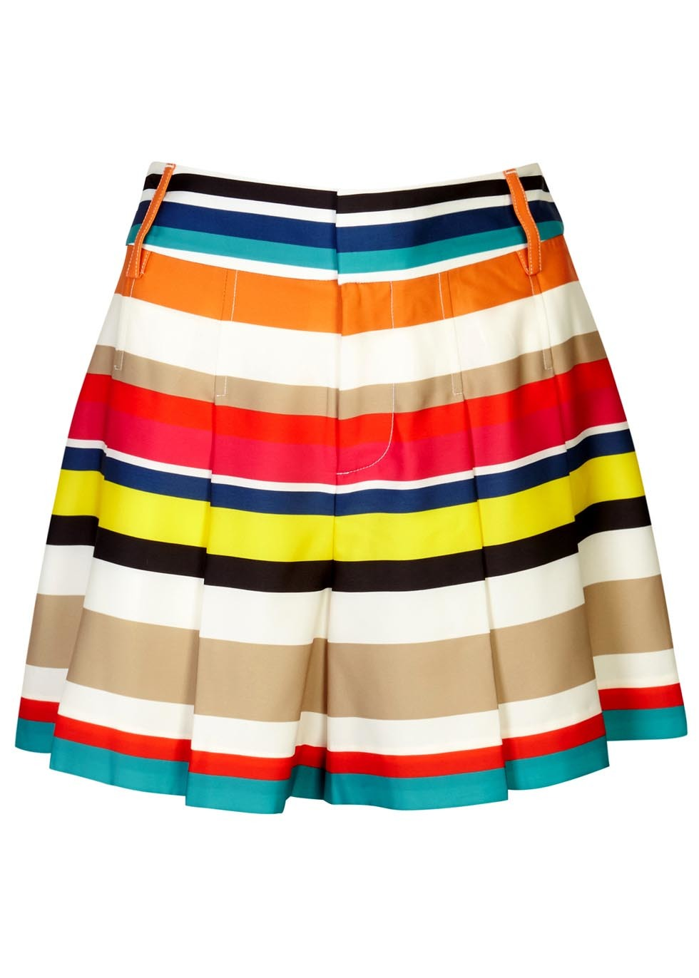 Scarlet Striped Satin Shorts - pattern: striped; waist: high rise; predominant colour: yellow; secondary colour: stone; occasions: casual; fibres: polyester/polyamide - stretch; texture group: structured shiny - satin/tafetta/silk etc.; pattern type: fabric; pattern size: light/subtle (bottom); multicoloured: multicoloured; season: s/s 2016; style: culotte; length: mid thigh shorts; fit: a-line; wardrobe: highlight