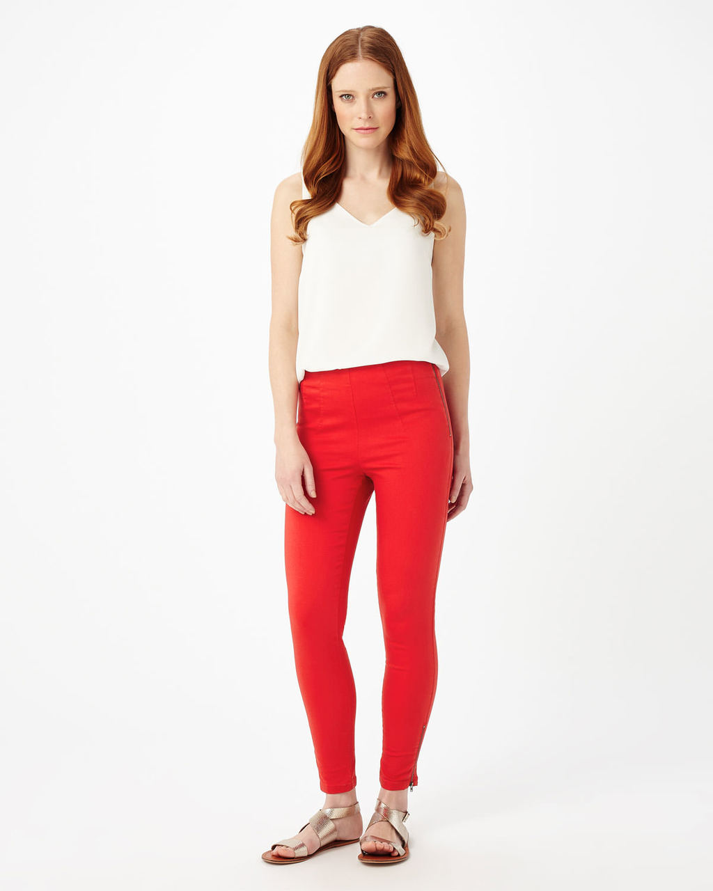 (W) Amina Zip 7/8th Jegging - pattern: plain; style: leggings; waist: high rise; hip detail: draws attention to hips; predominant colour: true red; length: ankle length; fibres: cotton - stretch; fit: skinny/tight leg; pattern type: fabric; texture group: other - light to midweight; occasions: creative work; pattern size: standard (bottom); season: s/s 2016; wardrobe: highlight