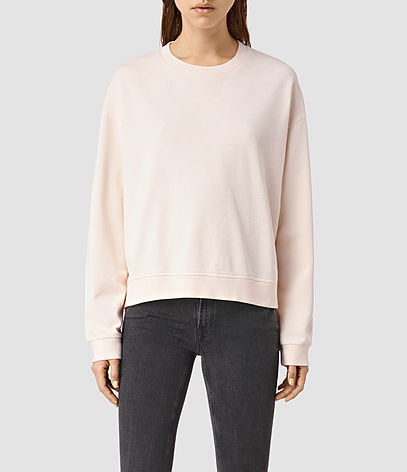 New Lo Sweatshirt - sleeve style: dolman/batwing; pattern: plain; style: sweat top; predominant colour: blush; occasions: casual; length: standard; fibres: cotton - stretch; fit: loose; neckline: crew; sleeve length: long sleeve; pattern type: fabric; texture group: jersey - stretchy/drapey; season: s/s 2016