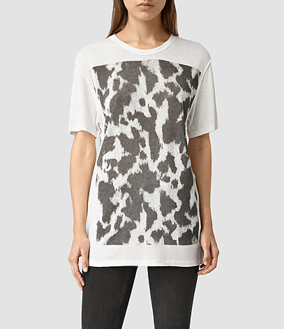 Montauld Cadfer Tee - neckline: round neck; style: t-shirt; predominant colour: white; secondary colour: charcoal; occasions: casual; fit: body skimming; length: mid thigh; sleeve length: half sleeve; sleeve style: standard; pattern type: fabric; pattern: patterned/print; texture group: jersey - stretchy/drapey; fibres: viscose/rayon - mix; pattern size: big & busy (top); season: s/s 2016; wardrobe: highlight