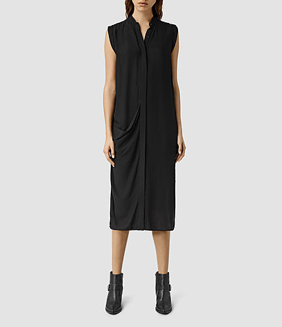 Cam Dress - style: shirt; length: below the knee; sleeve style: capped; pattern: plain; predominant colour: black; occasions: casual, creative work; fit: straight cut; neckline: collarstand & mandarin with v-neck; fibres: polyester/polyamide - 100%; sleeve length: sleeveless; texture group: crepes; pattern type: fabric; season: s/s 2016; wardrobe: basic