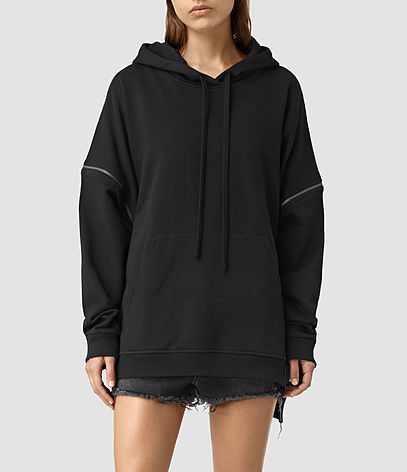 Graded Lo Hoody - pattern: plain; neckline: high neck; length: below the bottom; back detail: hood; predominant colour: black; occasions: casual; fibres: cotton - stretch; fit: standard fit; sleeve length: long sleeve; sleeve style: standard; pattern type: fabric; texture group: jersey - stretchy/drapey; embellishment: zips; season: s/s 2016; style: hoody; wardrobe: highlight