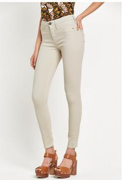 Molly Skinny Jean - style: skinny leg; length: standard; pattern: plain; pocket detail: traditional 5 pocket; waist: mid/regular rise; predominant colour: ivory/cream; occasions: casual; fibres: cotton - mix; texture group: denim; pattern type: fabric; season: s/s 2016; wardrobe: highlight