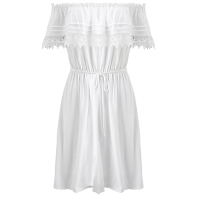 Frill Bardot Dress - neckline: off the shoulder; sleeve style: angel/waterfall; fit: fitted at waist; pattern: plain; style: sundress; waist detail: belted waist/tie at waist/drawstring; predominant colour: white; occasions: casual, holiday; length: just above the knee; fibres: cotton - mix; sleeve length: short sleeve; texture group: cotton feel fabrics; pattern type: fabric; embellishment: embroidered; season: s/s 2016; wardrobe: highlight
