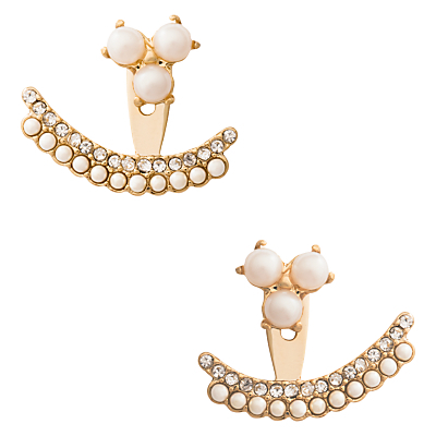 Double Row Faux Pearl And Glass Stone Ear Jackets, Gold/Cream - predominant colour: stone; occasions: evening, occasion; style: drop; length: short; size: standard; material: chain/metal; fastening: pierced; finish: metallic; embellishment: beading; season: s/s 2016; wardrobe: event