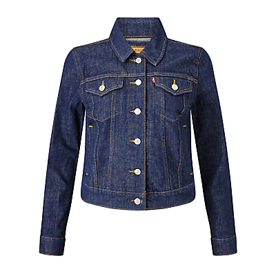 Authentic Trucker Jacket, Love Street - pattern: plain; style: denim; predominant colour: navy; occasions: casual, creative work; length: standard; fit: straight cut (boxy); fibres: cotton - 100%; collar: shirt collar/peter pan/zip with opening; sleeve length: long sleeve; sleeve style: standard; texture group: denim; collar break: high/illusion of break when open; pattern type: fabric; season: s/s 2016; wardrobe: basic