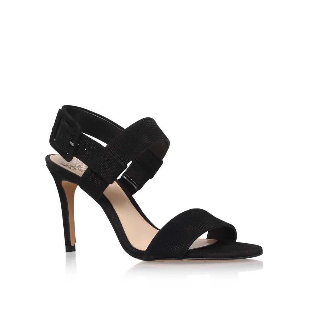 Roilla High Heel Sandals, Black - predominant colour: black; occasions: evening, occasion; material: suede; heel: stiletto; toe: open toe/peeptoe; style: strappy; finish: plain; pattern: plain; heel height: very high; season: s/s 2016; wardrobe: event
