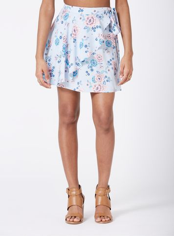 Womens Petite Floral Wrap Mini Skirt, Blue - length: mid thigh; fit: loose/voluminous; waist: high rise; predominant colour: ivory/cream; secondary colour: diva blue; occasions: casual; style: mini skirt; fibres: viscose/rayon - 100%; pattern type: fabric; pattern: florals; texture group: other - light to midweight; pattern size: standard (bottom); multicoloured: multicoloured; season: s/s 2016