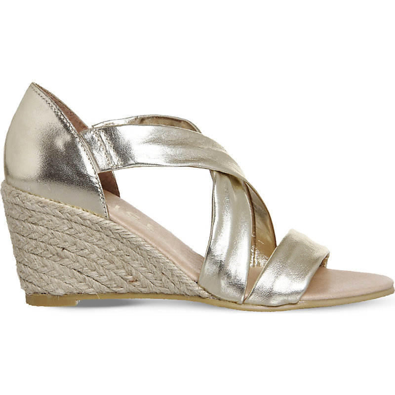Maiden Suede Wedge Espadrille Sandals, Women's, Gold Leather - predominant colour: silver; occasions: casual; material: leather; heel height: mid; heel: wedge; toe: open toe/peeptoe; style: standard; finish: metallic; pattern: plain; season: s/s 2016; wardrobe: highlight