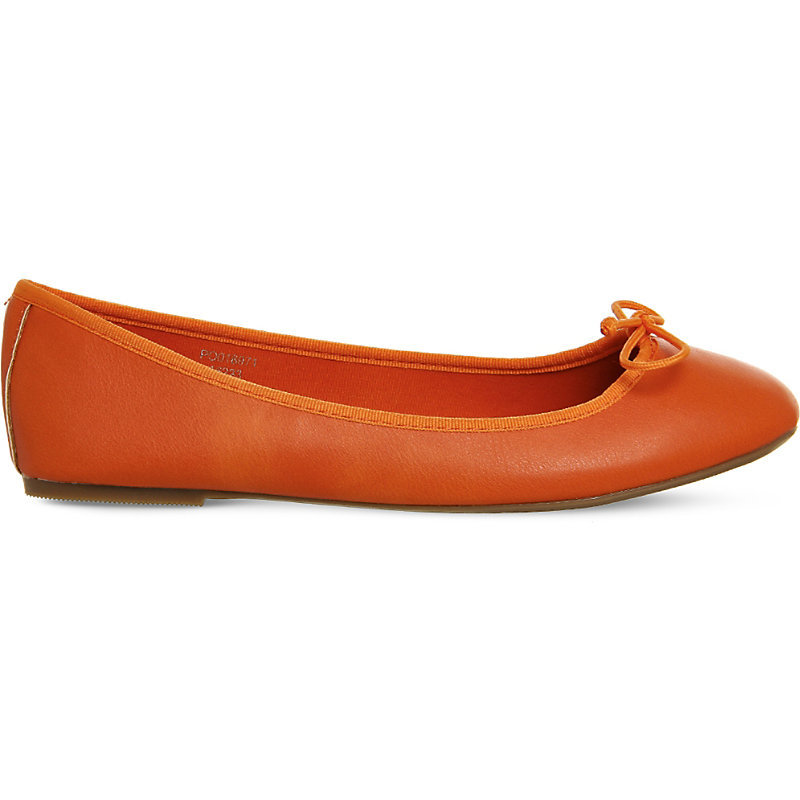Karmen Ballet Pumps, Women's, Bright Orange - predominant colour: coral; occasions: casual, creative work; material: faux leather; heel height: flat; toe: round toe; style: ballerinas / pumps; finish: plain; pattern: plain; season: s/s 2016; wardrobe: highlight