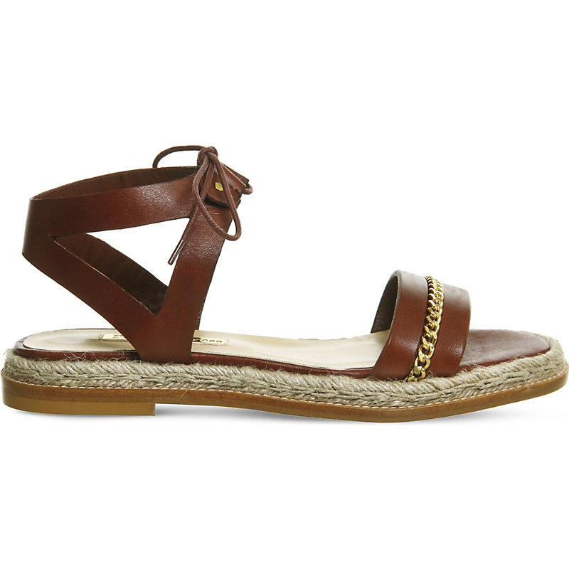 Nicola Flat Leather Chain Trim Sandals, Women's, Tan Leather - predominant colour: tan; occasions: casual, holiday; material: leather; heel height: flat; ankle detail: ankle strap; heel: block; toe: toe thongs; style: standard; finish: plain; pattern: plain; embellishment: chain/metal; season: s/s 2016; wardrobe: highlight