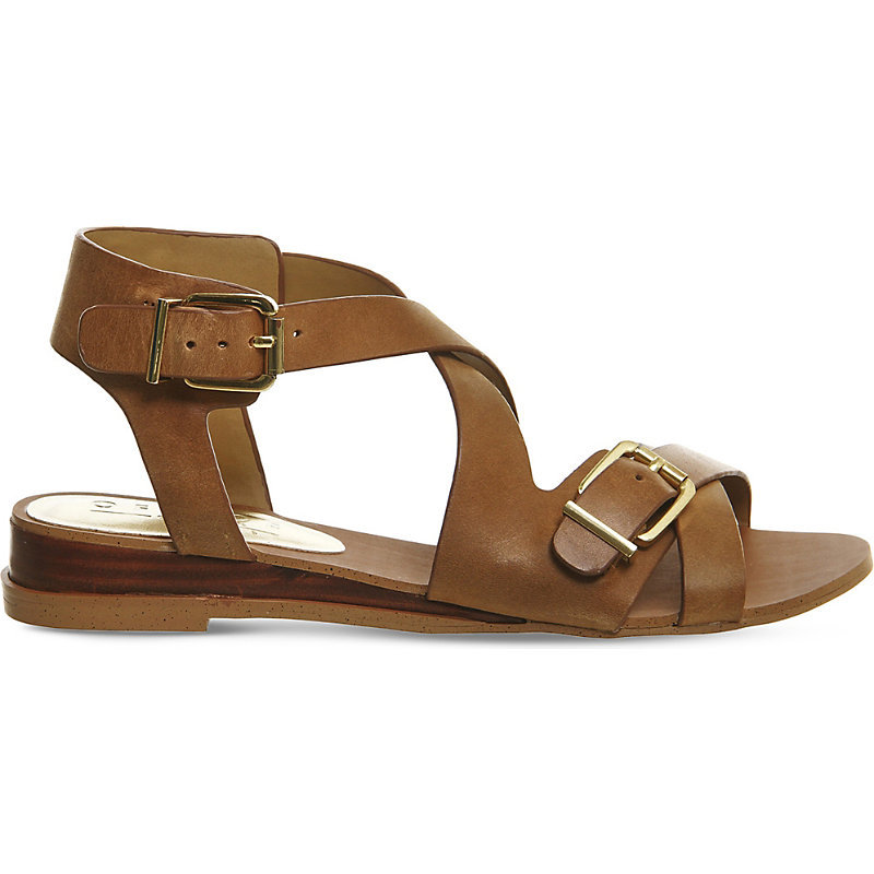 Boulevard Leather Wedge Sandals, Women's, Tan Leather - predominant colour: tan; occasions: casual, holiday; material: leather; heel height: flat; ankle detail: ankle strap; heel: standard; toe: open toe/peeptoe; style: strappy; finish: plain; pattern: plain; season: s/s 2016; wardrobe: highlight