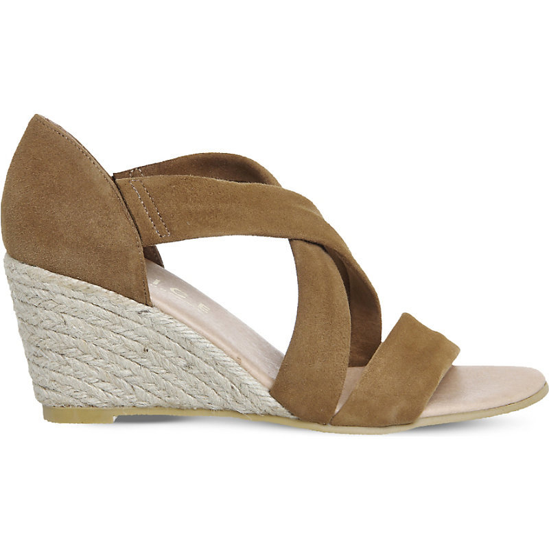 Maiden Suede Wedge Espadrille Sandals, Women's, Camel Suede - predominant colour: true red; occasions: casual, holiday; material: faux shearling; heel height: flat; ankle detail: ankle strap; heel: wedge; toe: open toe/peeptoe; style: strappy; finish: plain; pattern: plain; season: s/s 2016; wardrobe: highlight