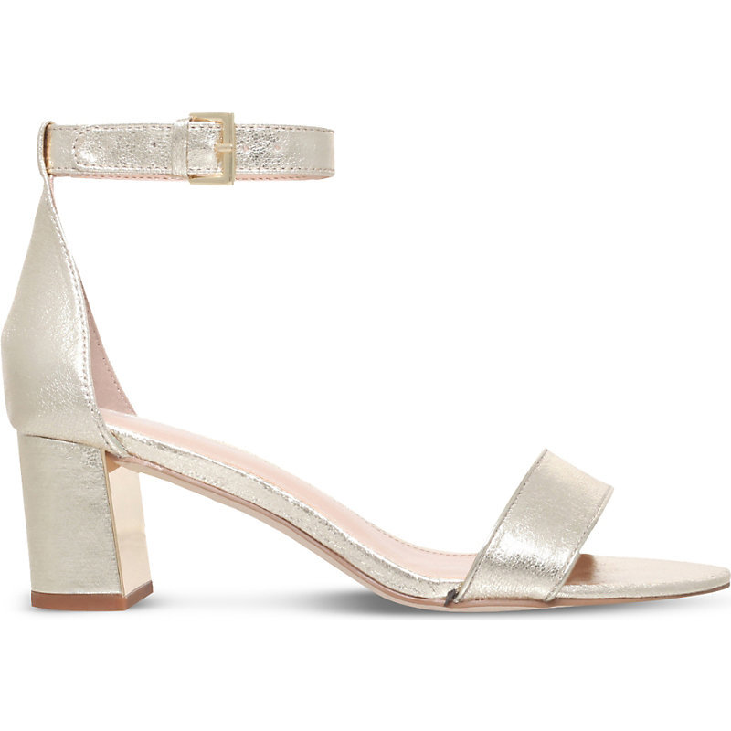 Gospel Metallic Heeled Sandals - predominant colour: gold; occasions: evening, creative work; material: leather; heel height: high; ankle detail: ankle strap; heel: block; toe: open toe/peeptoe; style: strappy; finish: plain; pattern: plain; season: s/s 2016; wardrobe: highlight