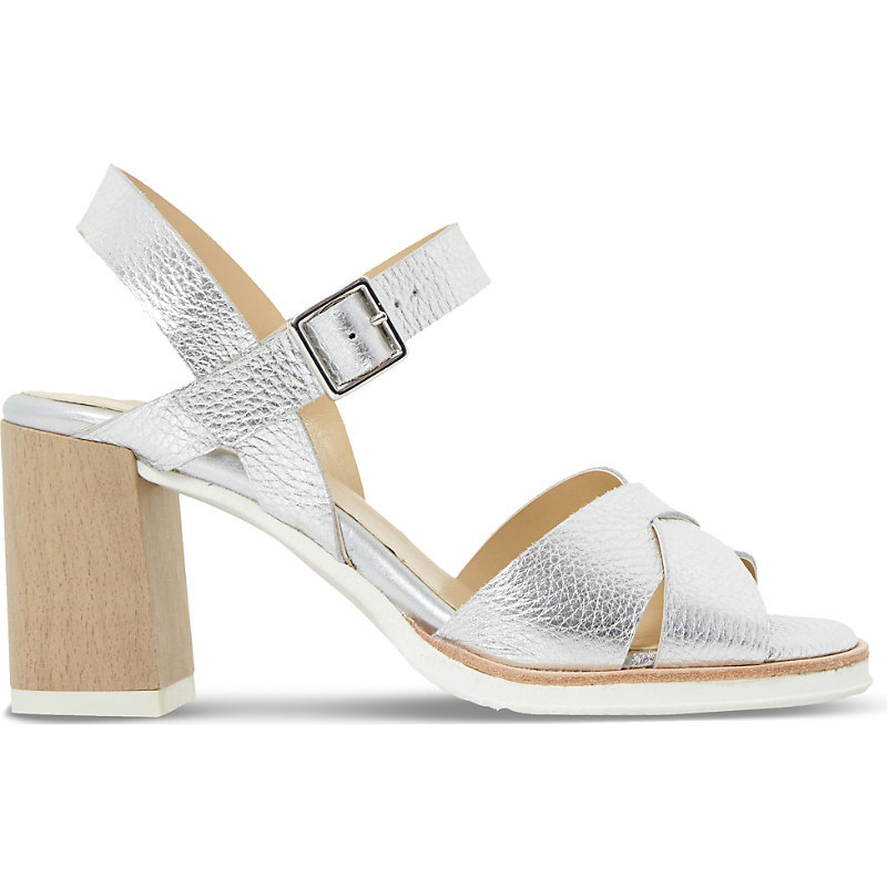 Judo Metallic Leather Heeled Sandals, Women's, Eur 40 / 7 Uk Women, Silver Leather - predominant colour: silver; occasions: casual, holiday; material: leather; heel height: high; ankle detail: ankle strap; heel: block; toe: open toe/peeptoe; style: strappy; finish: metallic; pattern: plain; season: s/s 2016