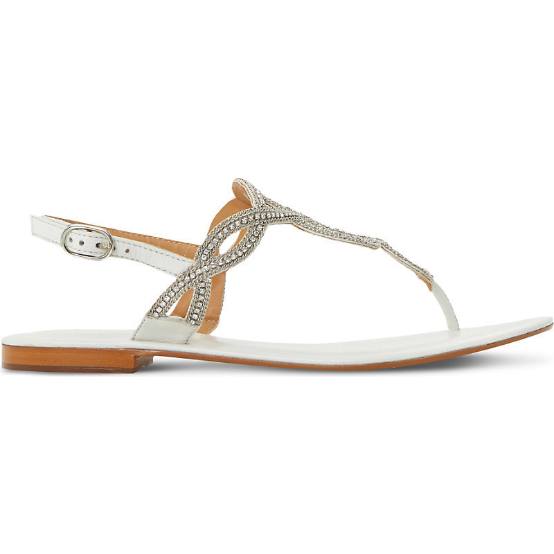 Nea Jewel And Chain Embellished Sandals, Women's, Eur 36 / 3 Uk Women, White Leather - predominant colour: white; secondary colour: silver; occasions: casual, holiday; material: faux leather; heel height: flat; embellishment: crystals/glass; ankle detail: ankle strap; heel: standard; toe: toe thongs; style: standard; finish: metallic; pattern: plain; season: s/s 2016; wardrobe: highlight