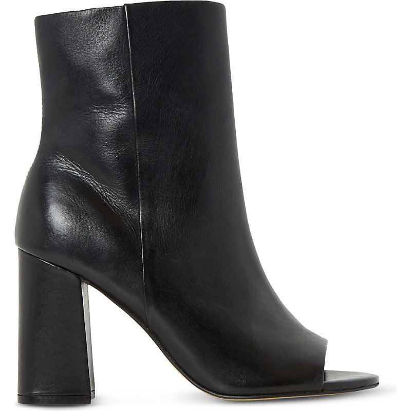 Octavia Peep Toe Leather Heeled Ankle Boots, Women's, Eur 38 / 5 Uk Women, Black Leather - predominant colour: black; occasions: casual, creative work; material: leather; heel height: high; heel: block; toe: open toe/peeptoe; boot length: ankle boot; style: standard; finish: plain; pattern: plain; season: s/s 2016; wardrobe: highlight