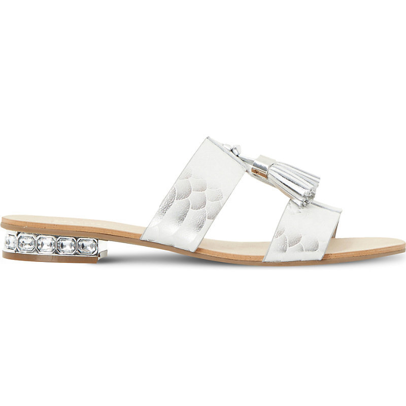 Newberry Tassel Detail Embellished Sandals, Women's, Eur 36 / 3 Uk Women, Silver Reptile - predominant colour: silver; occasions: casual, holiday; material: faux leather; heel height: flat; embellishment: tassels; heel: standard; toe: open toe/peeptoe; style: standard; finish: metallic; pattern: plain; season: s/s 2016; wardrobe: highlight
