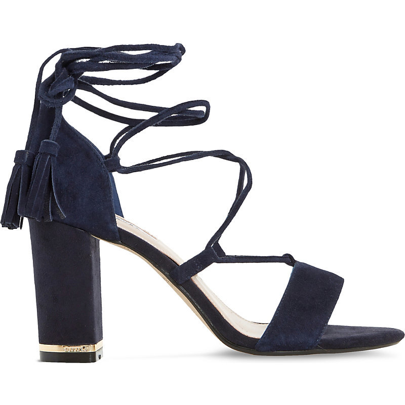 Margo Suede Block Heel Sandals, Women's, Eur 36 / 3 Uk Women, Navy Suede - predominant colour: navy; occasions: evening, occasion; material: suede; heel height: high; ankle detail: ankle strap; heel: block; toe: open toe/peeptoe; style: strappy; finish: plain; pattern: plain; season: s/s 2016; wardrobe: event