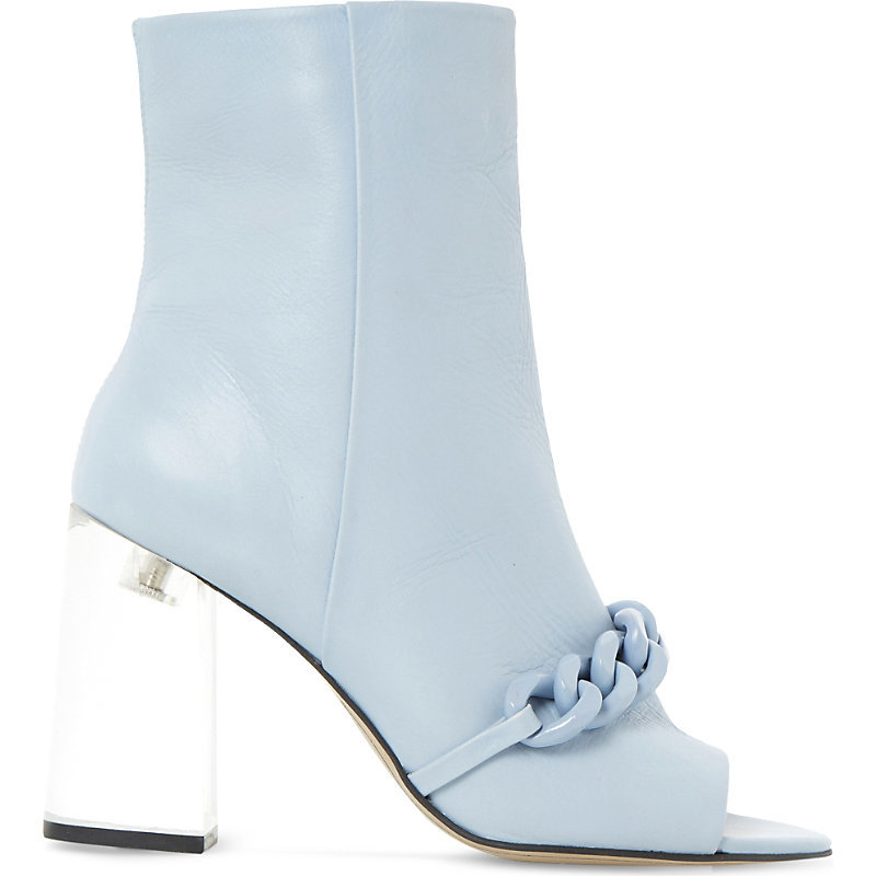 Octavia Embellished Peep Toe Heeled Ankle Boots, Women's, Eur 39 / 6 Uk Women, Pale Blue Leather - predominant colour: pale blue; material: leather; heel height: high; heel: block; toe: open toe/peeptoe; boot length: ankle boot; style: standard; finish: plain; pattern: plain; embellishment: chain/metal; occasions: creative work; season: s/s 2016; wardrobe: highlight