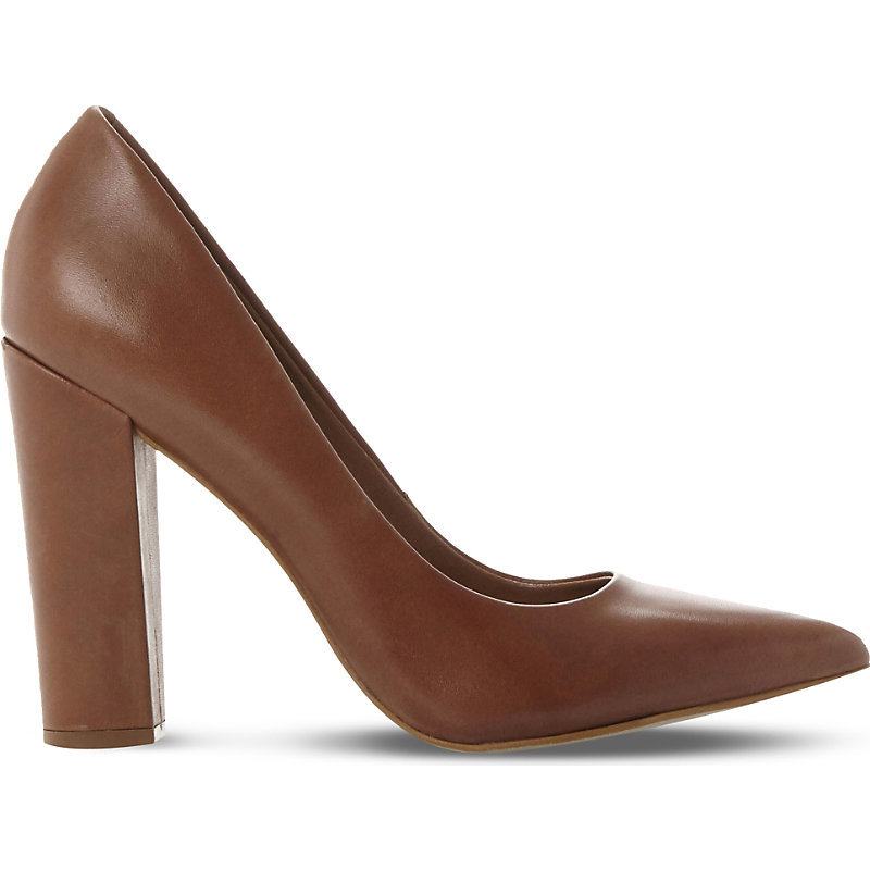 Primpy Leather Block Heel Shoes, Women's, Eur 41 / 8 Uk Women, Tan/Brown - predominant colour: chocolate brown; occasions: work, creative work; material: leather; heel: block; toe: pointed toe; style: courts; finish: plain; pattern: plain; heel height: very high; season: s/s 2016; wardrobe: highlight
