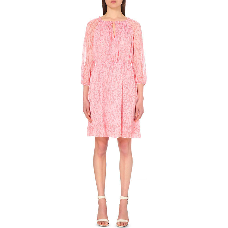 Parry Silk Dress, Women's, Sarasa Coral - style: shift; secondary colour: ivory/cream; predominant colour: pink; length: just above the knee; fit: body skimming; fibres: silk - 100%; occasions: occasion; neckline: crew; sleeve length: 3/4 length; sleeve style: standard; texture group: sheer fabrics/chiffon/organza etc.; pattern type: fabric; pattern size: standard; pattern: patterned/print; season: s/s 2016; wardrobe: event